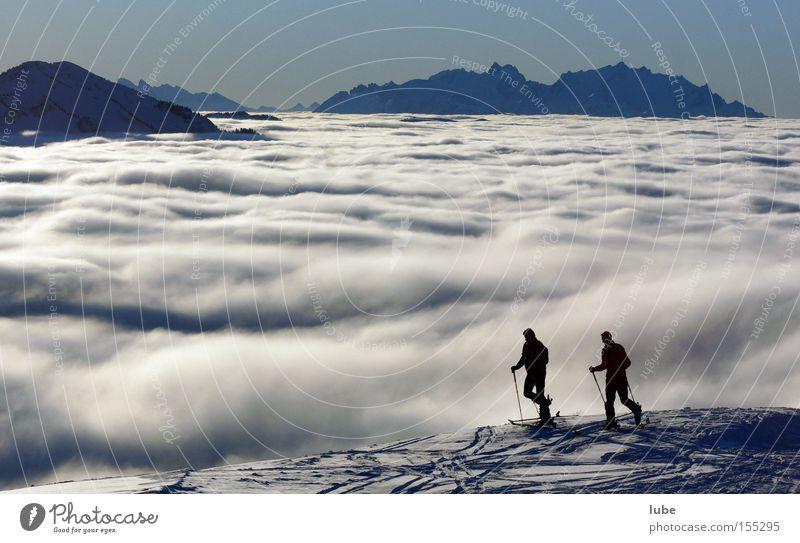 Über den Wolken Wolkenberg Wolkenfeld Wolkenband Wolkenfetzen Wolkendecke Winter Skitour Skifahren Skier Berg Säntis Bregenzerwald Tourismus