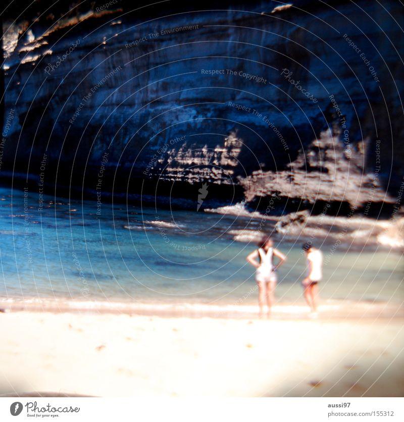 Great ocean beach Strand träumen Freundschaft Küste Nebel Kommunizieren Spaziergang Klippe