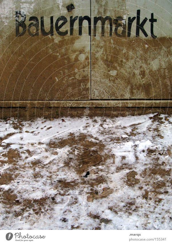 aka Wochenmarkt Eis dreckig Frost Schriftzeichen Buchstaben außergewöhnlich Hinweisschild Wirtschaft Handel Markt ländlich Billig Warnschild Bauernmarkt
