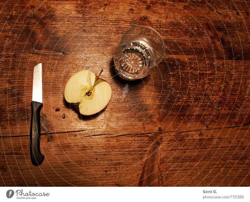 Abendmahl Tisch Wasser Ernährung Gesundheit Glas Frucht Apfel Diät Messer Maserung Wasserglas Holztisch