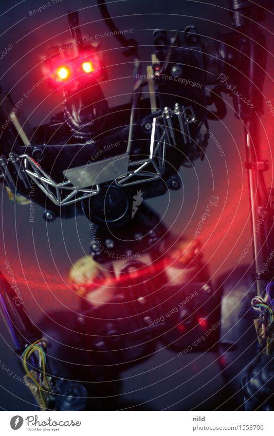 EXTERMINATE Freizeit & Hobby Spielen Technik & Technologie Fortschritt Zukunft Roboter 1 Mensch Kunst Computerspiel Aggression dunkel eckig Wut rot schwarz