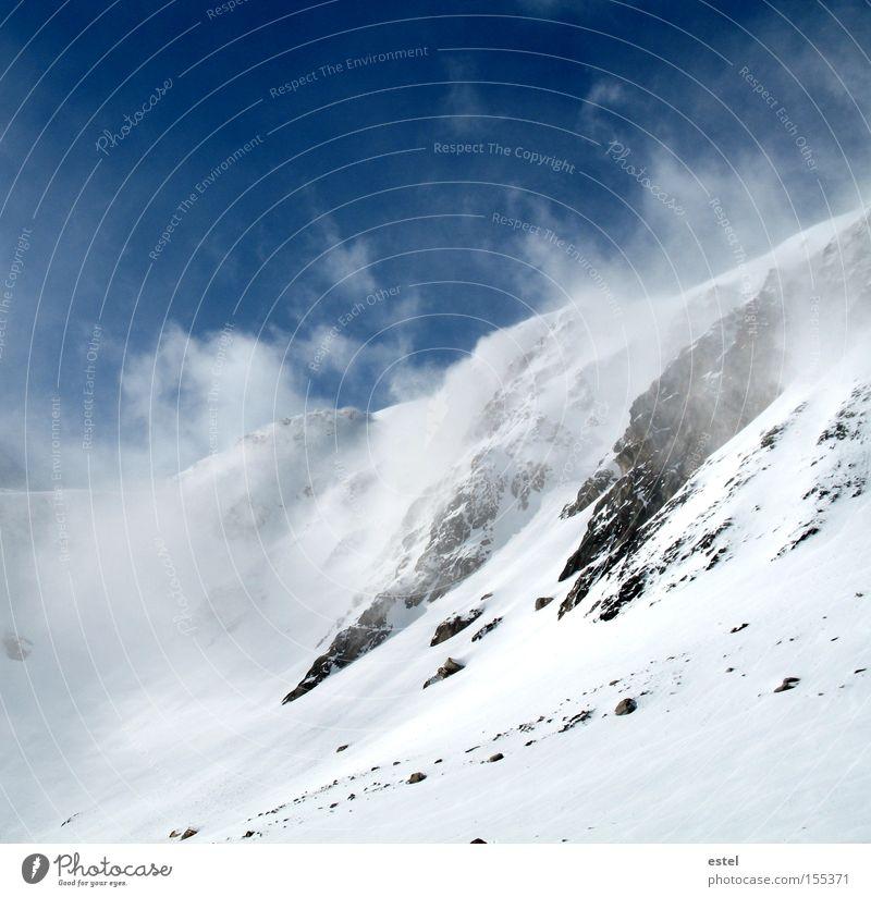 Schneewehen II blau weiß Winter Wolken kalt Berge u. Gebirge Stein Schneefall Wind Nebel Alpen Österreich Gletscher Skipiste