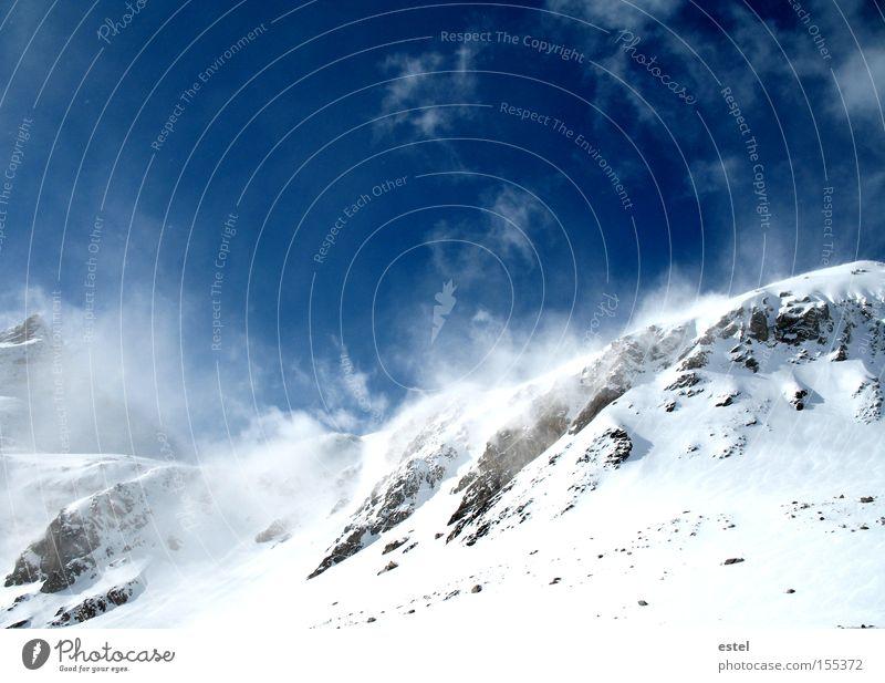 Schneewehen III Winter Berge u. Gebirge Skipiste Wolken Wind Nebel Schneefall Alpen Schneebedeckte Gipfel Gletscher frieren glänzend träumen kalt blau weiß