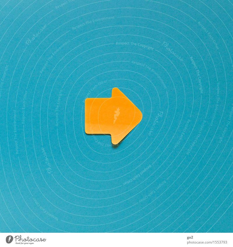 Rechts Zeichen Schilder & Markierungen Hinweisschild Warnschild Pfeil blau gelb orange türkis Optimismus Erfolg Willensstärke Mut Tatkraft diszipliniert