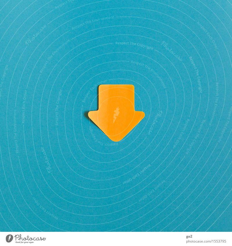 Abwärts Zeichen Schilder & Markierungen Hinweisschild Warnschild Pfeil einfach blau gelb orange türkis Misserfolg Missgeschick Orientierung Abwärtsentwicklung