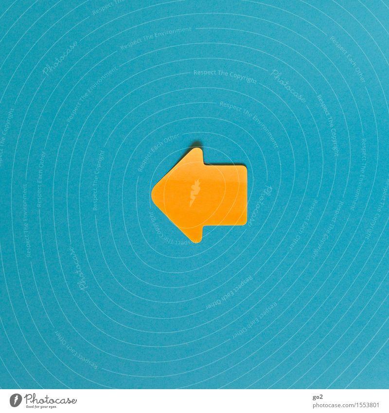 Links blau gelb orange Schilder & Markierungen retro einfach Hinweisschild Zeichen Vergangenheit Pfeil türkis Richtung zurück Orientierung links Warnschild