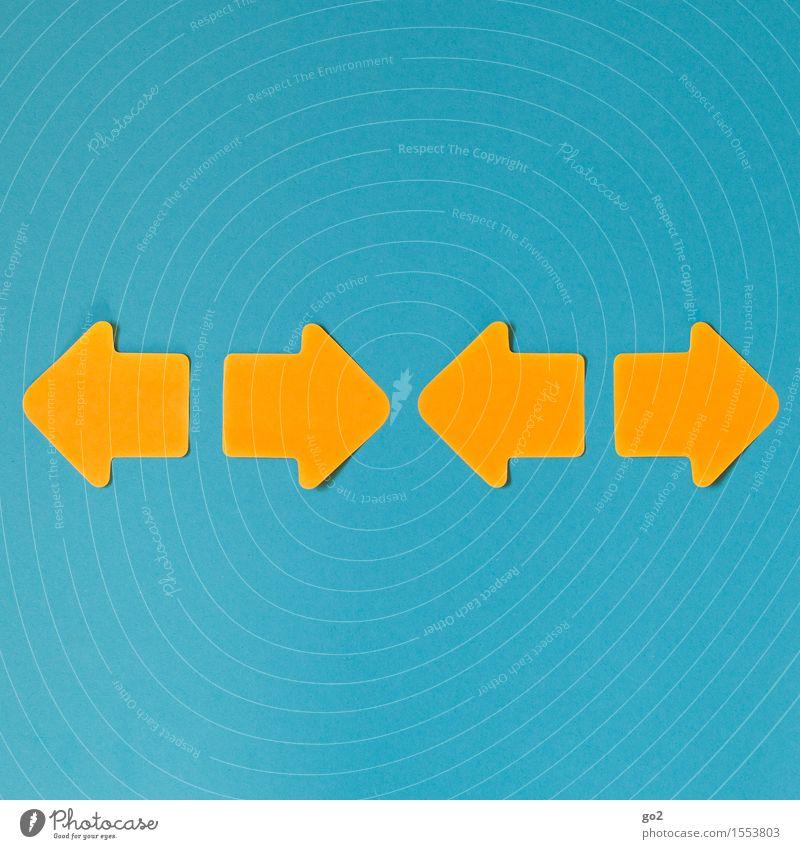 Unentschieden blau gelb sprechen orange Schilder & Markierungen Kommunizieren einfach Hinweisschild Zeichen Kontakt Pfeil türkis Partnerschaft Sitzung