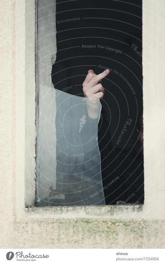 Auf Ärger gebürstet. Jugendliche Hand Finger Gebäude Fenster Glasscheibe Stinkefinger Kommunizieren Aggression bedrohlich Wut Coolness Unlust gefährlich Stress