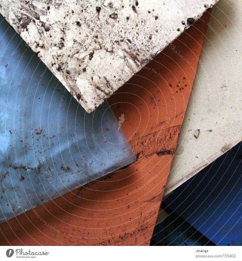 Unordentlich Farbfoto Gedeckte Farben mehrfarbig Nahaufnahme Strukturen & Formen Linie dreckig einfach blau rot weiß Verzweiflung verstört verschwenden