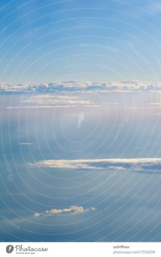 Raum, Zeit Himmel blau Wolken ruhig Ferne rosa Wetter Klima Schönes Wetter Wolkenloser Himmel Klimawandel Flugzeugausblick nur Himmel