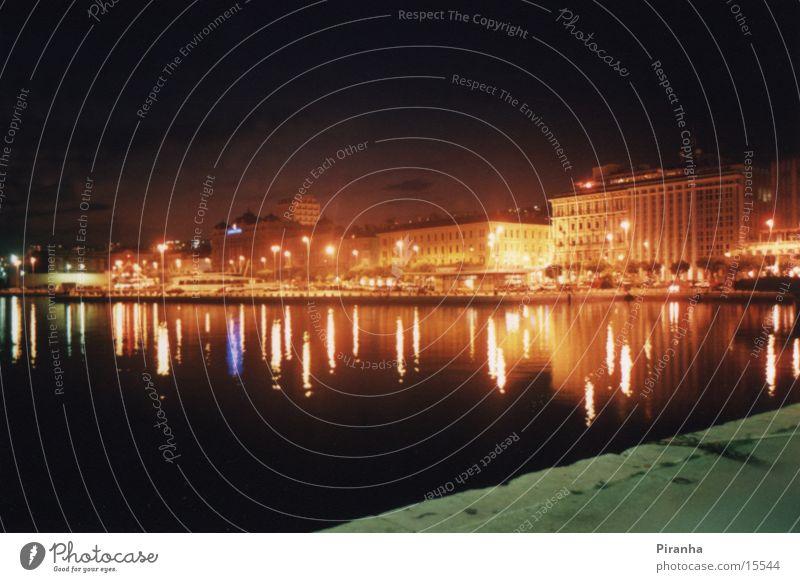 Rieka@Night Kroatien Nacht Licht Meer Europa Lampe Hafen