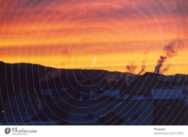 Wintermorgen Sonnenaufgang Morgen Rauch Morgendämmerung