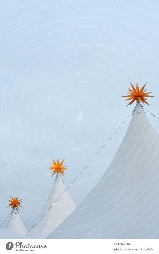 Trio Stern (Symbol) Bethlehem Weihnachten & Advent Zelt Spitze stehen Niveau Buden u. Stände Markt Himmel blau himmelblau Kunst Kunsthandwerk weighnachtsstern