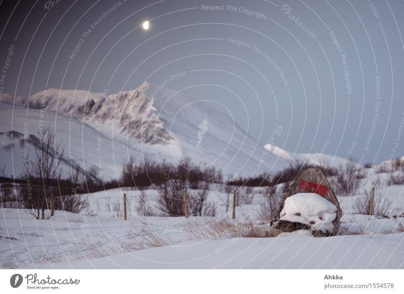 Rondane I Natur Landschaft Wolkenloser Himmel Mond Winter Eis Frost Schnee Berge u. Gebirge Gipfel Schneebedeckte Gipfel stehen leuchten wild Vertrauen