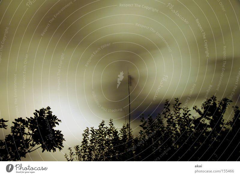 Sturmnacht Baum Wolken Wolkenfeld Windsack Himmel Geäst Langzeitbelichtung