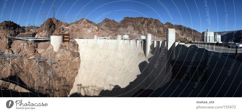 Hoover Damm Panorama Natur See Landschaft Beton groß USA Amerika Bauwerk historisch Panorama (Bildformat) Nevada Stausee Arizona