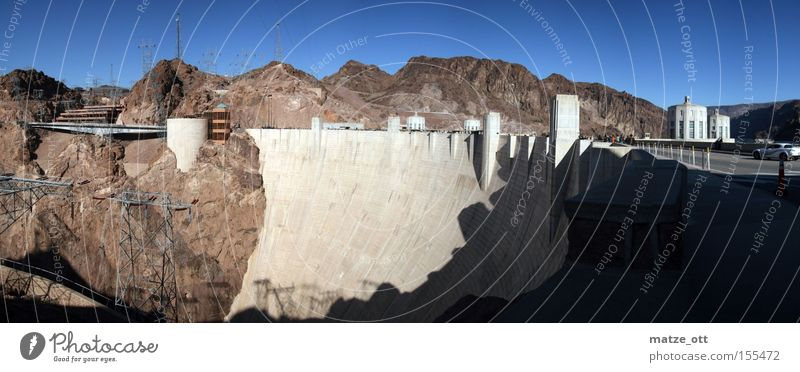 Hoover Damm Panorama Natur See Landschaft Beton groß USA Amerika Bauwerk historisch Panorama (Bildformat) Nevada Stausee Arizona Hoover Dam