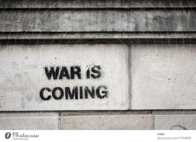 schwarzsehen... Mauer Wand Fassade Schriftzeichen Graffiti bedrohlich trist Gefühle Angst Zukunftsangst gefährlich Verzweiflung verstört vorhersagen Warnung