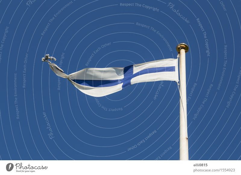 Finnische Flagge Himmel blau Sommer weiß Wolken Feste & Feiern Erde Wind Europa Symbole & Metaphern dünn Fahne lang Fahnenmast Blauer Himmel Selbstständigkeit