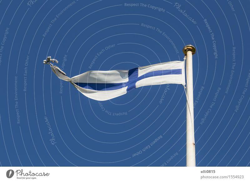 Finnische Flagge Sommer Feste & Feiern Erde Himmel Wolken Wind Fahne dünn lang blau weiß Selbstständigkeit Europa Finnische Kultur Finish-Flag Finnland