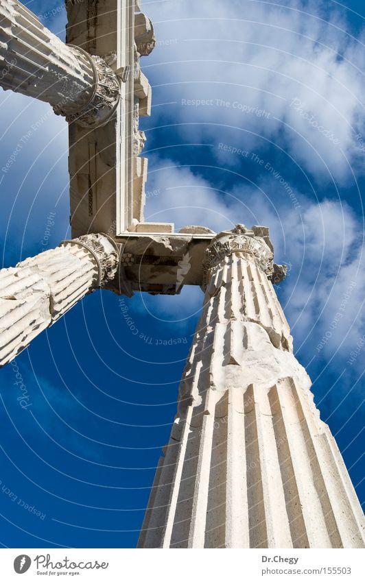alt weiß blau Ferien & Urlaub & Reisen Wolken Reisefotografie Fotografie ruiniert historisch Säule antik Türkei Tempel Römer Anatolien Bergama