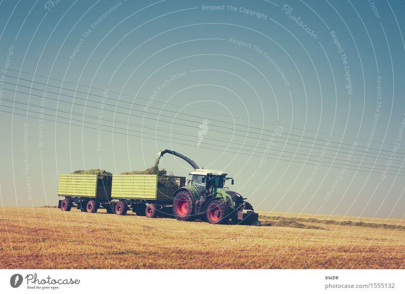 Landarbeit Himmel Natur blau Sommer Landschaft Umwelt natürlich Arbeit & Erwerbstätigkeit Horizont Feld Erde Technik & Technologie Schönes Wetter Landwirtschaft Ernte Ackerbau