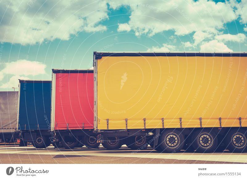 Uni-Riesen blau rot gelb lustig Deutschland Europa planen Güterverkehr & Logistik Dienstleistungsgewerbe Lastwagen Parkplatz Anhänger Versand liefern