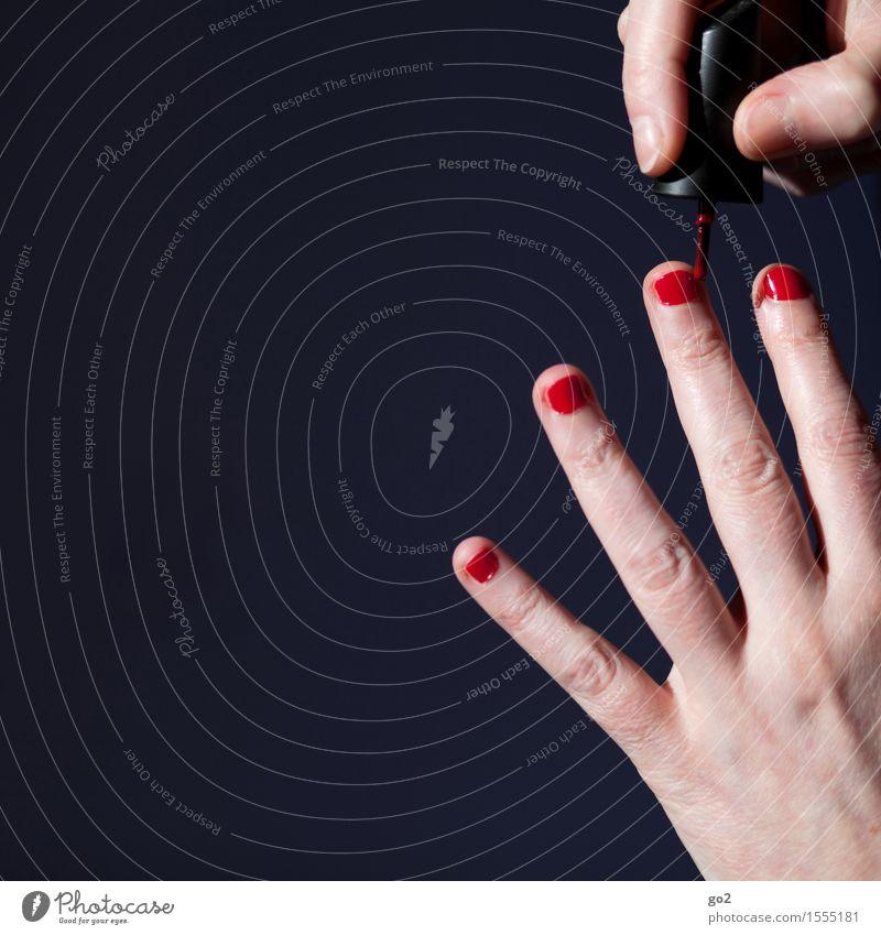 Nagellack Lifestyle Stil schön Körperpflege Maniküre ausgehen Mensch feminin Frau Erwachsene Leben Hand Finger 1 ästhetisch einzigartig rot Farbfoto