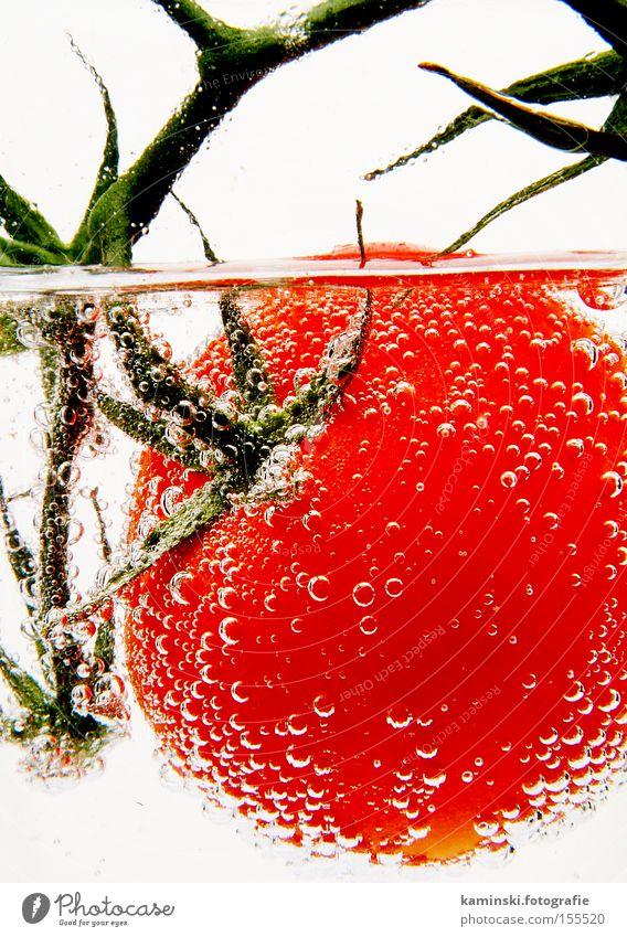 Blubbertomate Wasser rot frisch Gemüse Vitamin Tomate knackig Wasserblase perlen