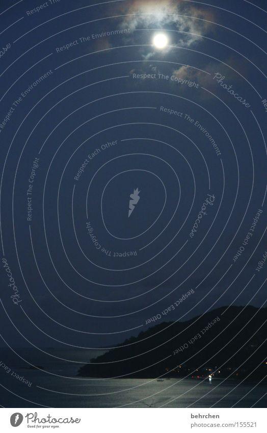 schlaflos Seychellen Nacht Mond Mondschein Flitterwochen träumen dunkel genießen Wolken Himmel Meer Vollmond Aussicht Himmelskörper & Weltall Insel praslin