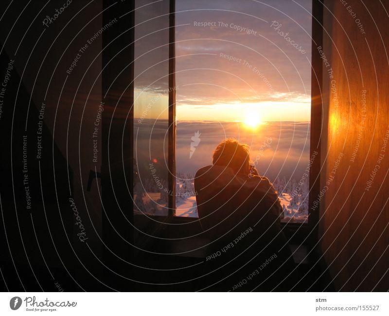 der sonne entgegen [3] Sonne Winter Ferien & Urlaub & Reisen Wolken Schnee Fenster Berge u. Gebirge Landschaft Sonnenuntergang beobachten Sonnenaufgang Neugier