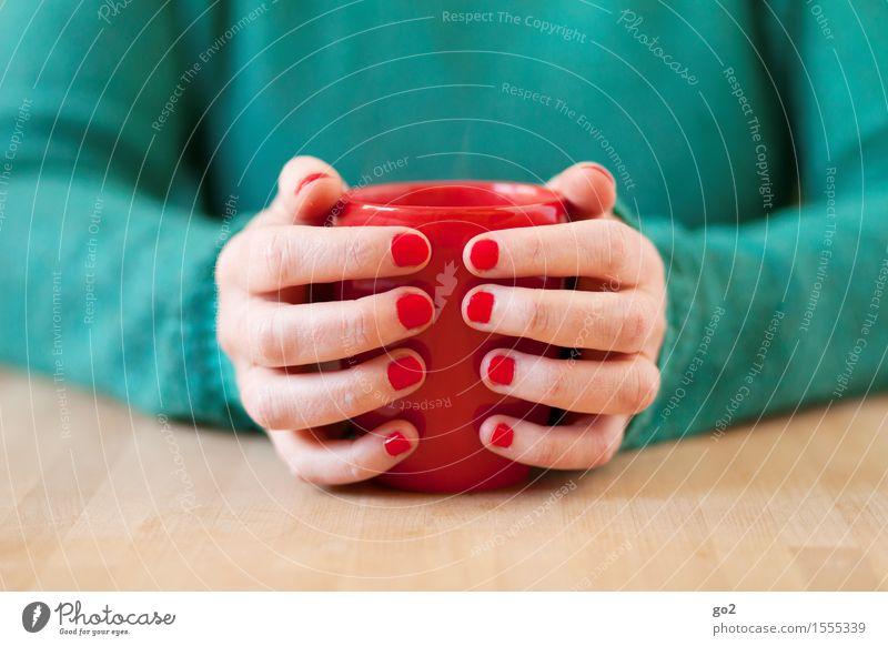 Pause Mensch Frau schön grün Gesunde Ernährung Hand Erholung rot ruhig Erwachsene Leben feminin Zufriedenheit Häusliches Leben Tisch genießen