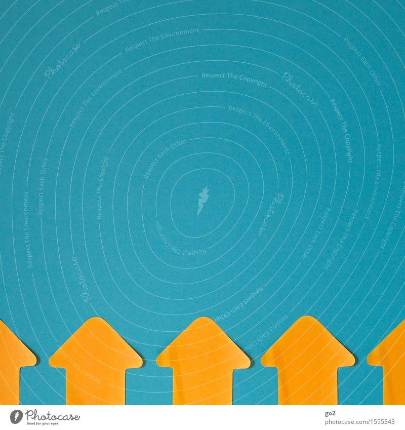 Up blau gelb orange Wachstum Kraft Schilder & Markierungen Erfolg Beginn Zukunft einfach Hinweisschild Zeichen planen Ziel Team Pfeil