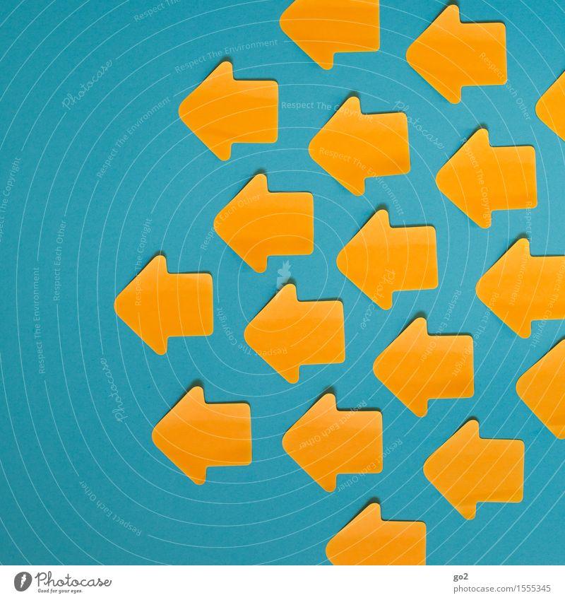 Nach links Zeichen Schilder & Markierungen Hinweisschild Warnschild Pfeil blau gelb orange türkis Orientierung Orientierungszeichen Richtung richtungweisend