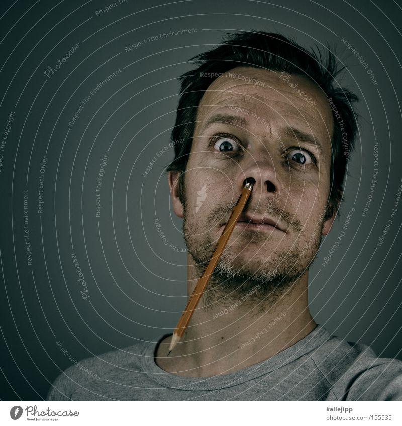 2100_randnotitz Mensch Mann Gesicht Nase verrückt lernen Studium Bildung Student skurril Management Bleistift stechen Nasenloch Praktikum puristisch