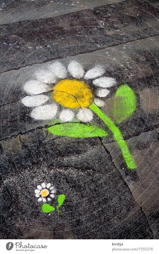 Geborgenheit Jugendkultur Graffiti Blume Zeichen Blühend Duft Kommunizieren Lächeln leuchten ästhetisch außergewöhnlich Freundlichkeit Zusammensein niedlich