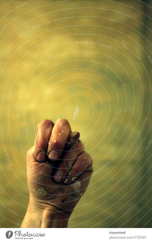 ~N~ Hand Farbe Wand Farbstoff dreckig Finger Kommunizieren Konzentration Tiefenschärfe Daumen Fingernagel gestikulieren Faust Gelenk Zeigefinger Mittelfinger