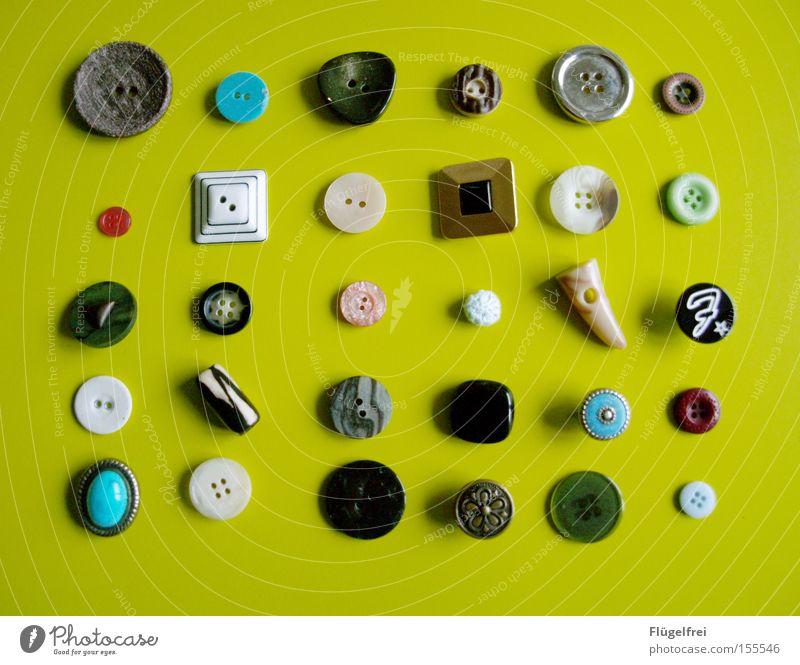 Knopfsammlung Reichtum Freizeit & Hobby Handarbeit Handwerk rund grün schwarz türkis weiß Ordnung Knöpfe Vielfältig Nähen Rechteck geordnet groß-klein