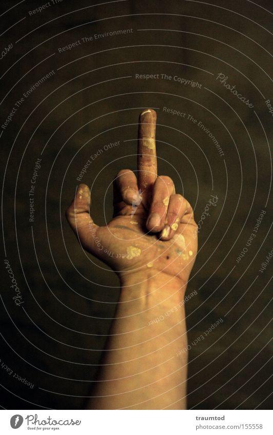 Statement Hand Farbe dreckig Finger Kommunizieren Wut Fleck Tiefenschärfe Ärger Daumen gestikulieren Faust Gelenk Zeigefinger Mittelfinger Stinkefinger