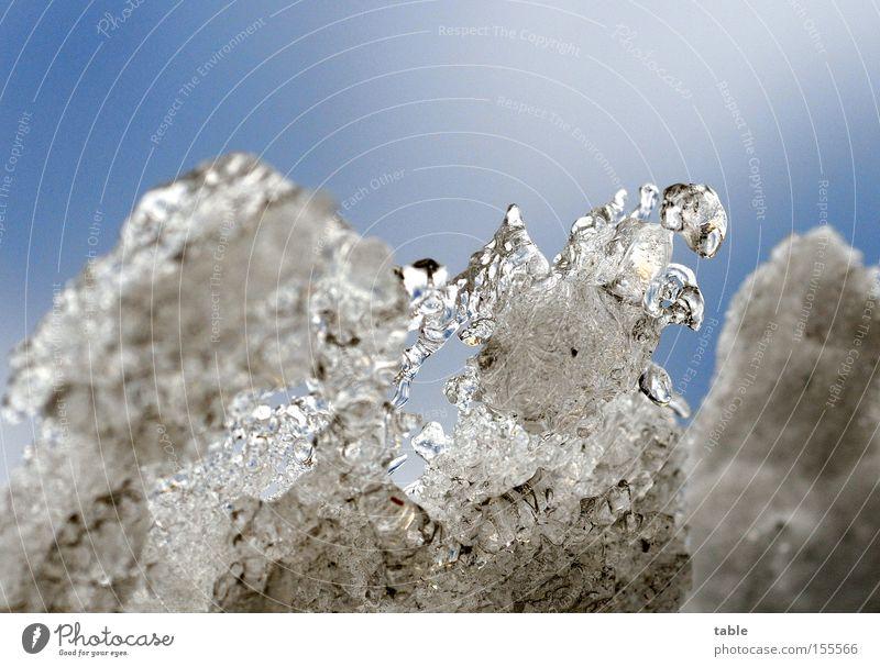 Eiszeit Schnee Winter Tauwetter frieren kalt Frost dreckig Himmel Wolken blau weiß Wasser Makroaufnahme Nahaufnahme ice age