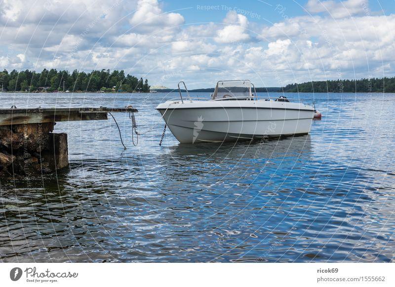 Boot an der schwedischen Küste Erholung Ferien & Urlaub & Reisen Tourismus Insel Natur Landschaft Wolken Baum Ostsee Wasserfahrzeug blau grün Schäre Schweden