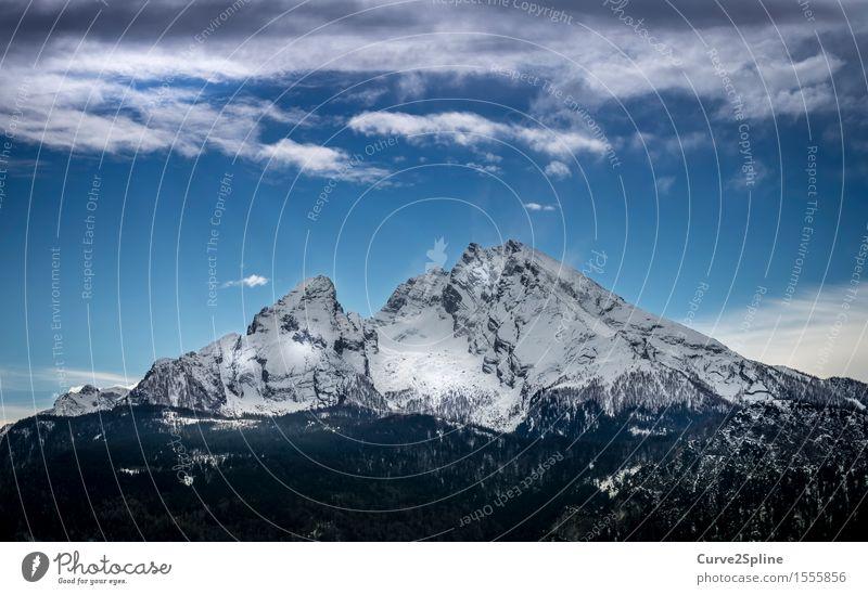 Watzmann Natur Urelemente Himmel Wolken Winter Schönes Wetter Eis Frost Schnee Felsen Berge u. Gebirge Gipfel Schneebedeckte Gipfel fest Ferne gigantisch