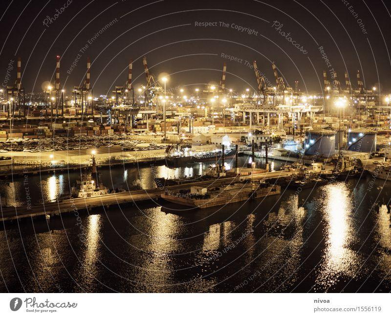 Hafen Ferien & Urlaub & Reisen Ausflug Abenteuer Ferne Kreuzfahrt Sommer Meer Wellen Wirtschaft Industrie Güterverkehr & Logistik Maschine Kran Wasser Himmel