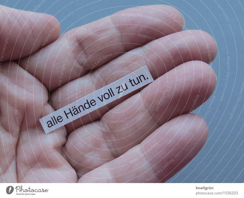 alle Hände voll zu tun. weiß Hand Gefühle grau Arbeit & Erwerbstätigkeit Schilder & Markierungen Schriftzeichen Kommunizieren Beginn Kreativität Energie Finger