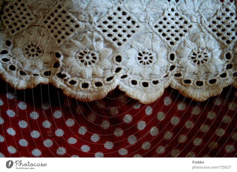 Pünktchen Punkt weiß rot Spitze Rüschen Stoff Rock Schürze Blume Gardine altmodisch Bekleidung Dekoration & Verzierung