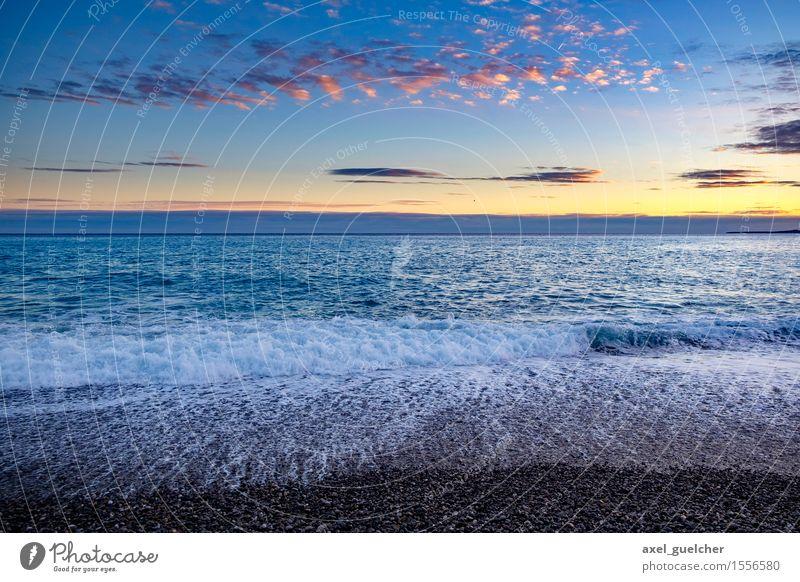 Nice Sunset in Nice Ferien & Urlaub & Reisen Tourismus Ausflug Abenteuer Ferne Freiheit Sommer Sommerurlaub Sonne Strand Meer Wellen Natur Landschaft Wasser