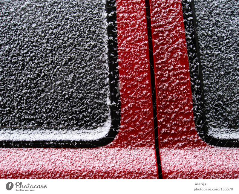 Flakes Farbfoto Außenaufnahme abstrakt Strukturen & Formen Design Schnee Eis Frost Tür Glas Metall Linie Streifen ästhetisch außergewöhnlich Coolness kalt rot