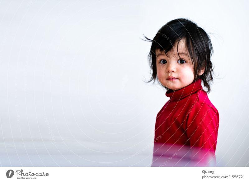 Die Olive Kind Mädchen schön Porträt rot schwarz Auge süß Asien Kleinkind Asiate Oliven Rollkragenpullover