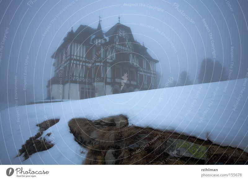 Villa Cassel Riederalp Nebel grau kalt Schnee unheimlich geisterhaft historisch naturschutzzentrum villa gebäude spukhaft