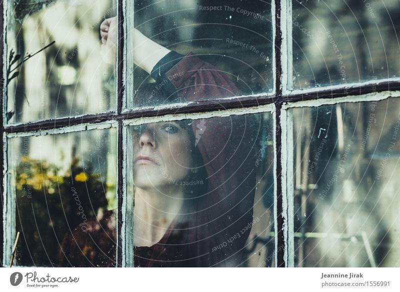 schöne Ansichten Garten feminin Kopf Arme 1 Mensch Blumenstrauß Fensterblick Blick stehen warten ästhetisch Schutz demütig Traurigkeit Liebeskummer Unlust